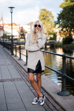 Knit and leather skirt