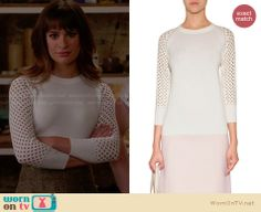 Rachel's white perforated sweater on Glee. Outfit Details: http://wornontv.net/27584 #Glee #fashion