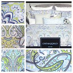 6 pc new cynthia rowley queen paisley floral comforter set aqua