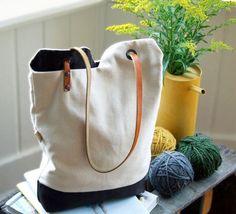 keten kumaştan deri kayışlı çanta yapımı