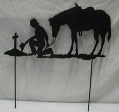 Praying Cowboy and Horse with Stakes Western Metal Art Silhouette