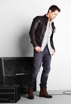 leather jacket, grey slim fit jeans, brown boots