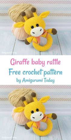 Giraffe baby rattle crochet pattern - Amigurumi Today Crochet Giraffe Baby Rattle free crochet pattern by Amigurumi Today Crochet Baby Toys, Cute Crochet, Crochet Dolls, Baby Blanket Crochet, Crochet Giraffe Pattern, Crochet Octopus, Crochet Amigurumi Free Patterns, Amigurumi Giraffe, Baby Rattle