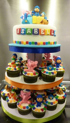 pocoyo cupcake tower