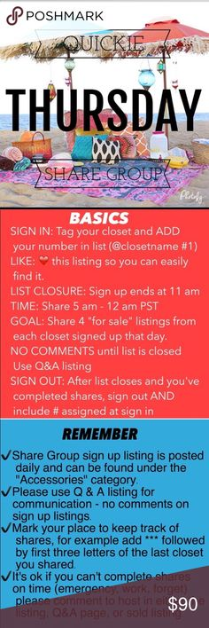 Thursday quickie share group ❤️Share 4 items from each closet-no special requests unless items are at the top of your closet ❤️Share times 5am to 12midnight your time ❤️Sign up closes at 11 am Pacific (2ET) ❤️Share before midnight your time!               ❤️Let's have fun  sharing!                      ❤️If you have any questions please tag me @deesteinberg                                                  ❤️ ❤️Thank you for joining us today! Don't forget to sign out!! Accessories