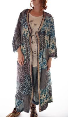 Cotton Calico Patchwork Emporium Coat with Sunfading, Distressing, Raw Seams and Hand Stitched Trim, Magnolia Pearl Magnolia Pearl, Sweet Magnolia, Boho Gypsy, Bohemian Style, Hippie Bohemian, Hippie Chic, Hippie Style, Boho Fashion, Autumn Fashion