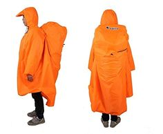 Bluefield Lightweight Backpack Poncho (Multiple Color Options Available) (Tangerine). Protects you and your backpack from heavy wind and rain in one easy-to-use poncho. Made of high-quality, ultra waterproof 210T Terylene fabric, and equipped with a drawstring hood and zipped neck. Super lightweight and easy to carry at only 9.8 ounces (0.6 lbs) and 6.3 inches by 4 inches when in bag. Back can easily be buttoned for use without a backpack (see picture). One size fits all. ***Quality...