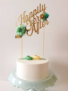 happily ever after gold wedding cake topper  ~  we ❤ this! moncheribridals.com