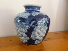 Vintage Blue and White Grape Design Vase, Blue and White Pottery, Home Decor, Cabinet Display, Ginger Jar Style Shape by MuskRoseVintage on Etsy