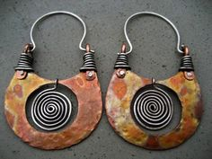Earrings | Silvia Peluso. 'Pachamama'.  Sterling silver and copper.   - handmade - jewelry - jewellery - fashion - earrings