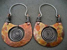Earrings | Silvia Peluso. 'Pachamama'. Sterling silver and copper. - handmade - jewelry - jewellery - fashion - earrings