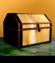A Steamer Trunk Jewelry Chest  in Stained Glass by BeeTreeGlass, $189.00