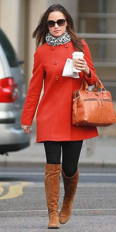 red Zara coat, knee-high suede boots, a tan Modalu bag, and a leopard print Temperley scarf