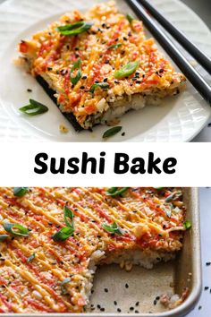 This Easy Sushi Bake is made with creamy crab filling, spicy mayo, and tangy sweet rice. You'll love how easy and delicious it is. #sushibake #easysushibake #bakedsushi #easysushibakerecipe