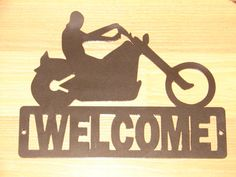 Chopper Motorcycle WELCOME SIGN Home Decor Wall by artbyjack, $24.99