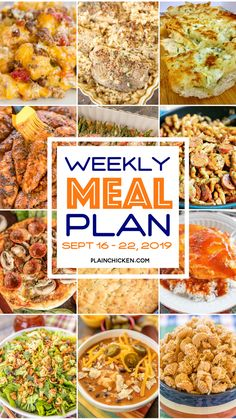 Weekly Meal Plan - what to make for dinner every night this week. A quick, easy, and delicious recipe for every single night of the week. Main dishes, sides and dessert. Freezer Meals, Easy Meals, Freezer Cooking, Cheap Meals, Cooking Recipes, Healthy Recipes, Weekly Recipes, Weekly Meals, Crockpot Recipes