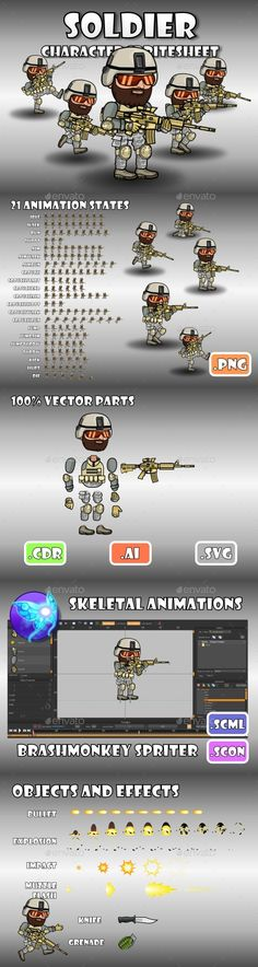 Soldier 51 Desert SpecOps - Sprites Game Asset Design Template Vector AI. Download here: http://graphicriver.net/item/soldier-51-desert-specops/16442071?ref=yinkira