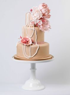whimsical pearl and pink cake