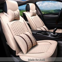Linen Flax Breathable Seat Covers for Audi A1 A3 A5 A6/7 A4 A8 Q1 Q3 Q5 Q7 TT RS 5 Seat Cushion Full Seat Protector Blanket 2c