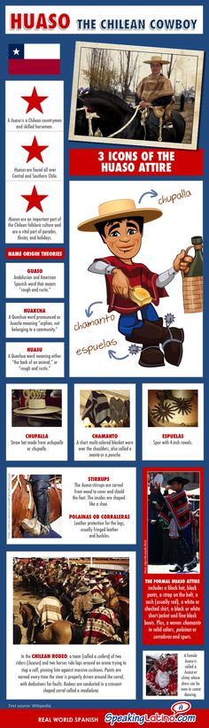 """Huaso: The Chilean Cowboy   An infographic that highlights some of the characteristics of the Chilean Huaso. It includes the name origin and the """"huaso"""" attire elements. #Infographic #Chile"""