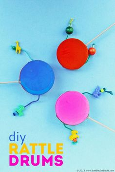 Homemade Instruments: DIY Rattle Drums - Babble Dabble Do Drums For Kids, Drum Lessons For Kids, Music For Kids, Craft Activities For Kids, Projects For Kids, Diy For Kids, Crafts For Kids, Toddler Crafts, Homemade Drum