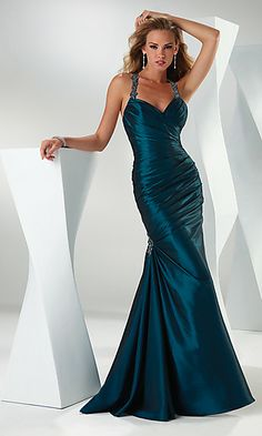 Teal ruched satin gown, with an amazing jeweled strap back! via @Emma Servies