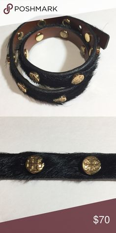 """TORY BURCH LOGO STUD DOUBLE WRAP BRACELET Black pony hair double wrap featuring gold tone logo branded stud detail. Adjustable. Measures approximately 14"""" long. It's approximately .60 inches wide. Leather. Authentic. Tory Burch Jewelry Bracelets"""