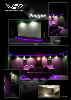 Cinema maison Home cinema Vie de luxe Salle cinema prive Ecran geant ...