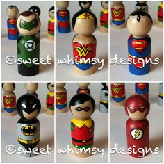 Items similar to superhero peg people - the superhero collection - superhero peg dolls - super pegs on Etsy Sewing Projects, Craft Projects, Craft Ideas, Wood Crafts, Diy Crafts, Clothespin Dolls, Kids Wood, Wooden Pegs, Fiestas