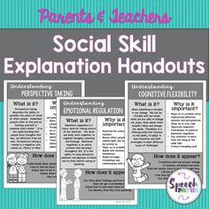 Social Skills Explanation Handouts