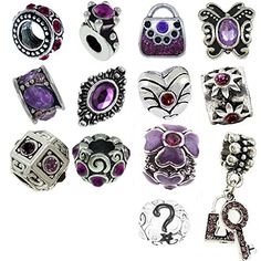 Timeline Trinketts Purple Charm Bracelet Beads Fits Pandora Jewelry Rhinestone Birthstone *** Want additional info? Click on the image.