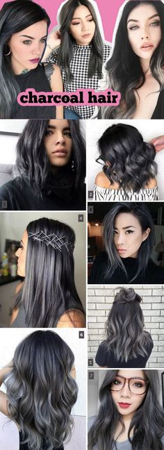 42 super Ideas hair color grey unique - All For Hair Color Balayage Hair Color For Black Hair, Cool Hair Color, Hair Colors, Grey Hair For Olive Skin Tone, Black Grey Ombre Hair, Unique Hair Color, Silver Ombre, Charcoal Hair, Hair Dos