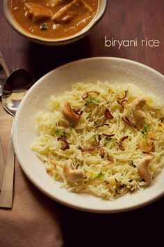 biryani rice recipe with step by step photos. biryani rice is a light, aromatic rice dish. biryani rice is easy to prepare and goes very well with any rich vegetarian curry or dal. Biryani Rice Recipe, Vegetable Biryani Recipe, Veg Biryani, Briyani Recipe, Pulao Rice, Veg Recipes, Indian Food Recipes, Cooking Recipes, Healthy Recipes