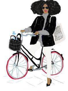 Afro Parisienne à Vélo par Nikisgroove sur Etsy