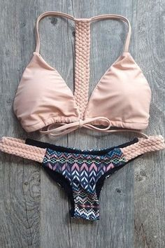 Spaghetti Strap Tie-Up Printed Bikini Set