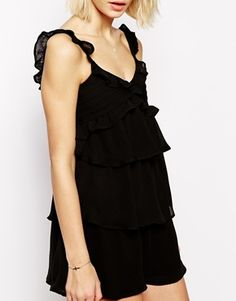 Frill and embriodered layered mini dress by Mango