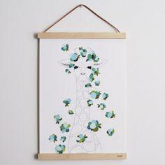 Impresión en papel gofrado de un diseño original de mimosa&estraza realizado en tinta y acrílico. Decoración bonita y divertida para habitaciones de niños.