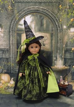 Wicked Witch costume for American Girl doll American Girl Doll Costumes, American Girl Clothes, American Dolls, Girl Costumes, Ag Doll Clothes, Doll Clothes Patterns, Doll Patterns, Sewing Patterns, Crochet Patterns