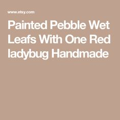 Painted Pebble Wet Leafs With One Red ladybug Handmade