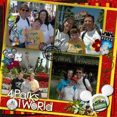 4 Parks-1 World- WDW Title Page for Disney scrapbook