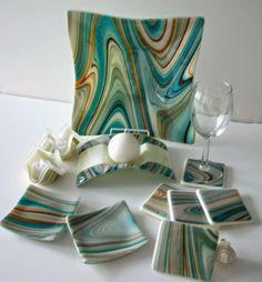 Looks like Fusers' Reserve Southwestern glass platter, candle holder