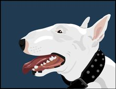 Smiling Bull Terrier Illustration by ImpartialEye, Etsy Store.