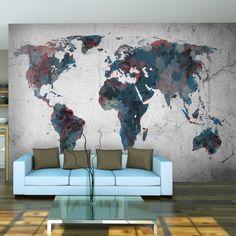 Papier peint intissé !!! Top vente !!! Papier peint !!! Tableaux muraux XXL !!!! 350x270 cm la carte du monde !!! 10040910-48