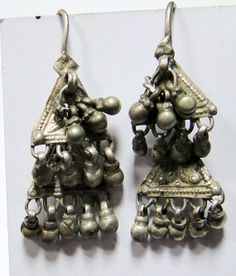 vintage antique ethnic tribal old silver earrings by TRIBALEXPORT, $99.00