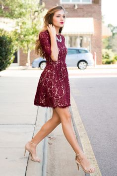 New maroon lace dress outfit fall Burgundy Dress Outfit, Lace Burgundy Dress, Dress Outfits, Dress Up, Dress Lace, Burgendy Dress, Maroon Dress Makeup, Burgundy Colour, Deep Burgundy