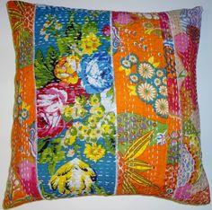 PK1 Patchwork block printed kantha pillow cover