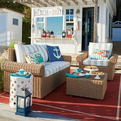 Small Outdoor Space Beach Decor Idea with all-weather wicker loveseat, chair and ottoman coffee table... http://www.beachblissdesigns.com/2017/06/small-outdoor-space-beach-deocr-idea.html