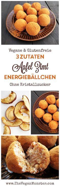 Apfel Zimt Energiebällchen (Vegan, Glutenfrei, Ohne Kristallzucker)   Das Vegan Monster - vegane & glutenfreie Rezepte