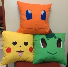 New Set of 3 Pokemon Characters Handmade Accent Pillows Pokemon Room, Pokemon Craft, Pokemon Party, Pokemon Birthday, Boys Room Decor, Boy Room, Kids Room, Diy Pillows, Accent Pillows