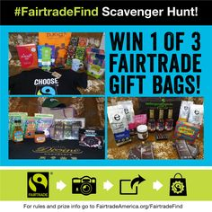 Enter the #FairtradeFind #ScavengerHunt to win 1 of 3 awesome gift bags full of #FREE #Fairtrade goodies from @ethicalbean, @eschocolate, @divinechocusa, @tatelylesugarus, @wholesomesweet, @gleegum, @pukkaherbsUSA, @latourangelle, Nescafe & more! It's easy to enter, so visit the #sweepstakes rules & prize info here→ http://fairtradeamerica.org/fairtrade/competition